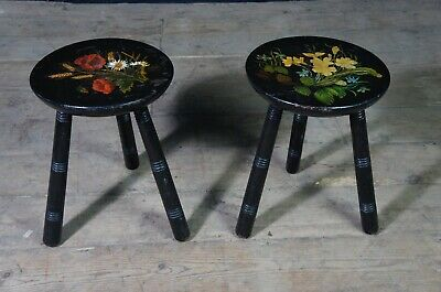Pair of Antique Ebonised Milking Stools with a Hand Painted Flower Decorations