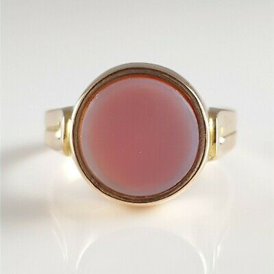 Antique Victorian 15ct Yellow Gold Carnelian Intaglio Signet Seal Ring 1892