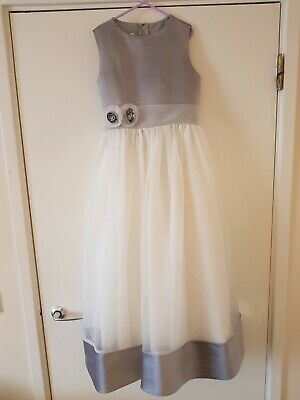 White and silver Holy Communion Dress, Bridesmaid, Flower Girl, age 10,