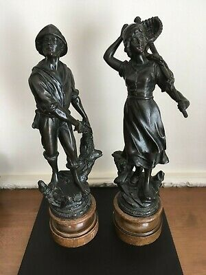 Pair Of Bronzed Spelter Figures - Fisherman And Fisherwoman