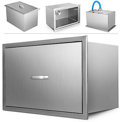 35*30 CM Drop In Ice Chest Bin With Cover Beer Beverage Stainless Steel + Drain