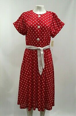 33c8dd8467 Darian Women s Size 12 Vintage Belted Red White Polka Dot Midi Sun Dress NEW