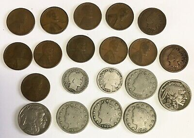 Lot of 20 Old U.S. Coins Buffalo Nickels Barber Dimes Indian Head Cents + More