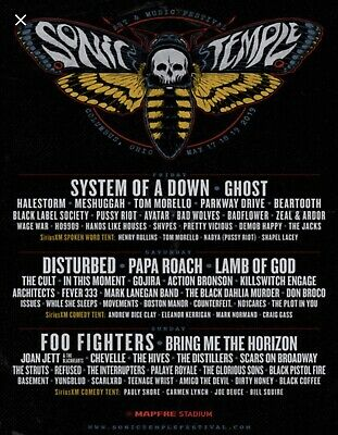 1x Sonic Temple Ticket May 17-19 Weekend Field VIP Foo Fighters System Of A Down