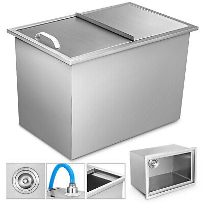 68*45*53 CM Drop In Ice Chest Bin With Cover Ice Box Stainless Steel + Drain
