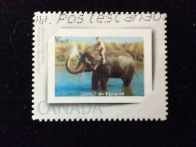 Canada Picture Postage Stamp / Personalized Stamps - Used - Man On Elephant
