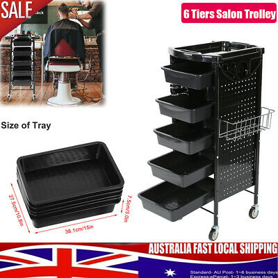 6 Tiers Storage Rack Trolley Cart With Wheels For Hair Salon & Beauty Salons AU