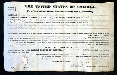 Orig 1837 Early FLINT MI MICHIGAN Genesee County GEORGE CROCKER Land Grant Deed