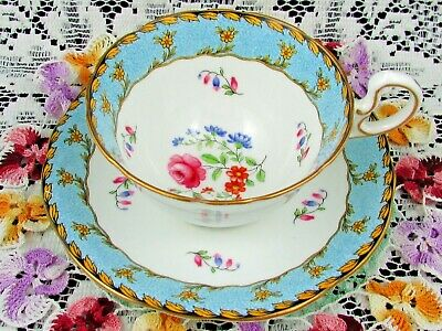 Aynsley Aqua Floral Band Yellow Flowers Floral Tea Cup And Saucer
