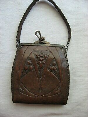 Antique  Purse Arts Crafts Era Hand Tooled Leather