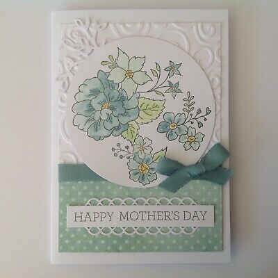 Hand made Mother's Day card- Floral display in sea green.
