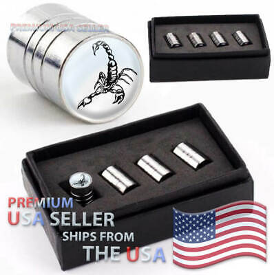 SCORPION Valve Caps Kit Venom Logo Range Rims Dust Stem Wheels Air Car Tires USA