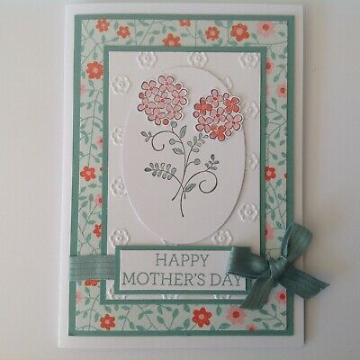 Hand made Mother's Day card- Hydrangeas with sea green and pink.