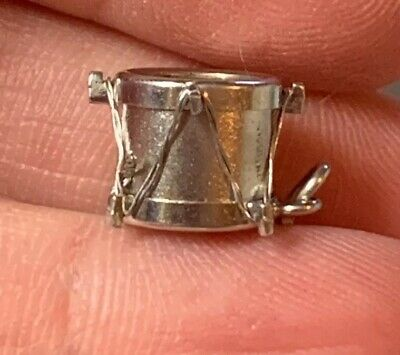 Vtg Sterling Silver MusicaI Mother of Pearl SNARE DRUM Bracelet Charm Pendant 3D