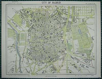 1883 Letts Map ~ Madrid City Plan Parks Plaza Mayor Hospital Churches