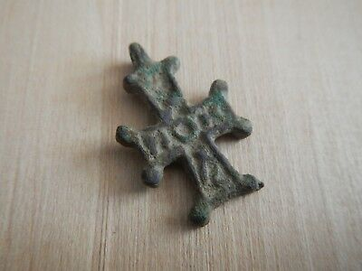 Byzantine Cross Pendant with Inscription Bronze