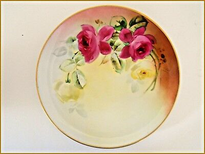 ANTIQUE LIMOGES CABINET PLATE HAND PAINTED RED ROSES Whites Art  MICHE -1900