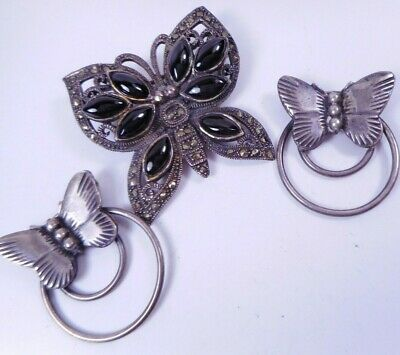 Vtg Lot 3 Sterling Silver BUTTERFLY Brooch PIns 925, one matching pair