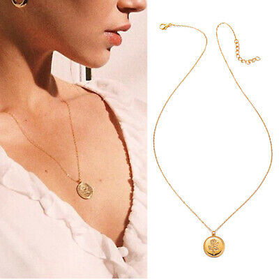 Fashion Vintage Gold Rose Flower Necklace Women Chain Pendant Chunky Charm Gifts