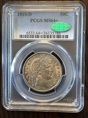 1915-D 50C Barber Half Silver Dollar PCGS MS64+ CAC; Nice Luster w/Tone $.01 NR!