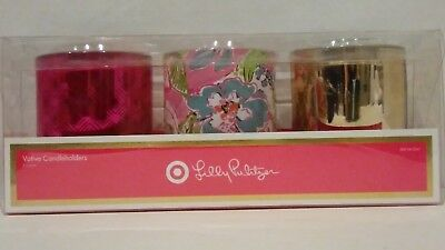 29852f07e2365a Lilly Pulitzer For Target Glass Votive Candle Holders Set Of 3 Nosie Posey