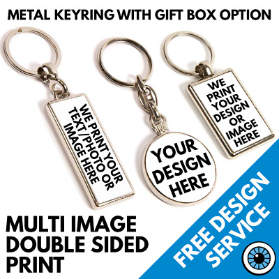 Custom Printed Metal Key Ring Personalised Keyrings Photo Logo Kids Pet Keyring