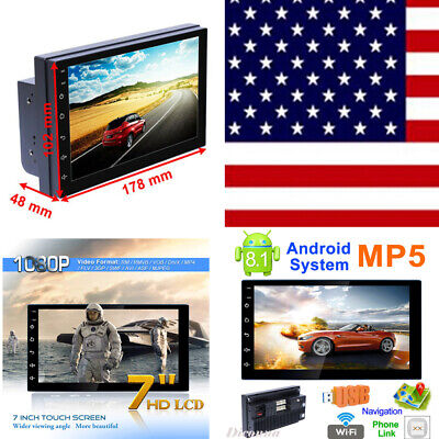 Android 8.1 WiFi 2Din 7'' HD Quad Core GPS Navi Car Stereo MP5 Player FM Radio