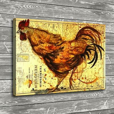 """12""""x18"""" Abstract Rooster Map Paints HD Prints Canvas Home Decor Wall Art Picture"""