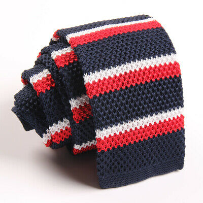 Fashion Man Knit Knitted Slim Flat Skinny Narrow Necktie Colourful Woven Tie