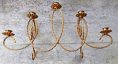 """*_* Vintage 21"""" 5 Light Candle Iron Gold Wall Sconce Candelabra Twisted Design"""