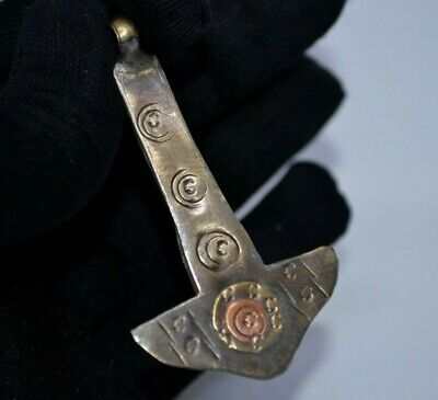 Rare Ancient BRONZE SILVER Viking Thors Hammer Amulet Pendant C 8th/9th.cent AD.
