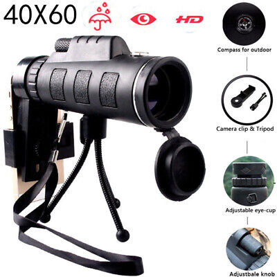 High Power 40X60 HD Monocular Telescope Night Vision Outdoor+Phone Clip Tripod R