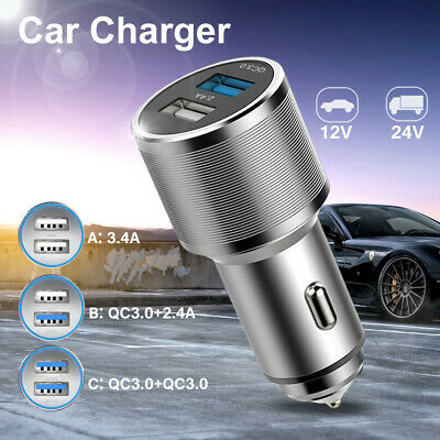 2 Port USB Car Charger Adapter LED QC 3.0 12V/24V Fast Charging for Android IOS