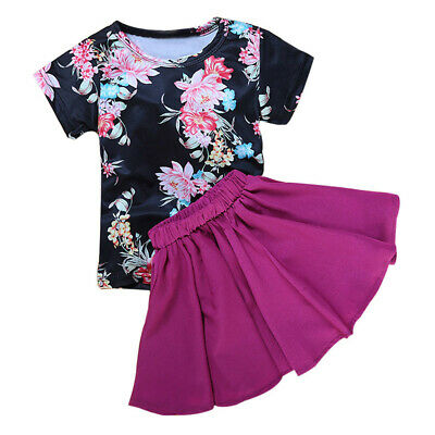 Floral Baby Kids Girl Dress Short Sleeve Tops Tee Tops+Skirt Outfits Set Clothes