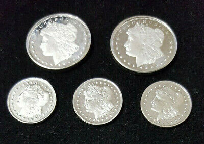 Mix Lot of (5) Morgan Dollar $ Design* Silver Coin Rounds .999 Fine Silver