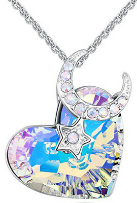 Heart Love Moon Star Necklace Pendant Crystal Made with Swarovski Elements