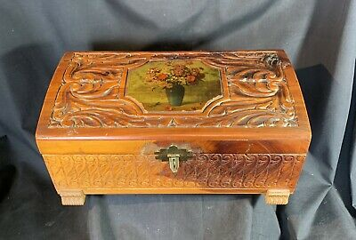 Antique Hand Carved American Wood Jewelry Box