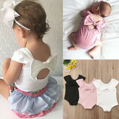 Toddler Baby Girl Kid Newborn Cute Solid Bow Romper Bodysuit Sunsuit Outfits