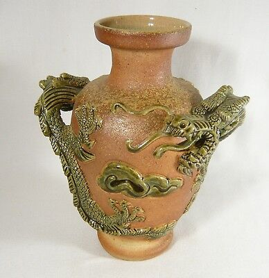 """Vintage / Antique 9"""" Chinese ASIAN Oriental VASE  Heavy GREEN DRAGONS & Clouds"""