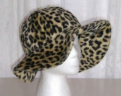 Vintage 60s 70s Hat Leopard Faux Fur Mohair Union Made Reversible Floppy Brim