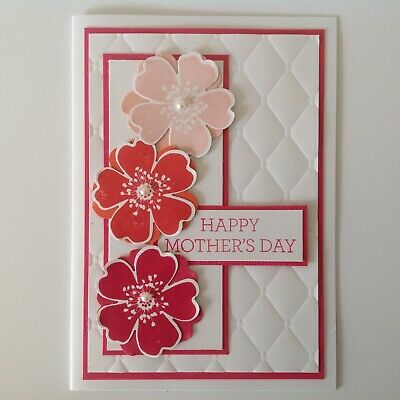 Hand made Mother's Day card - Bold flowers with pink.