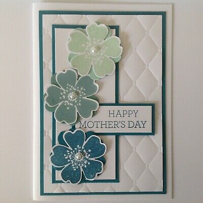 Hand made Mother's Day card - Bold flowers with blue.