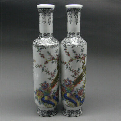 A PAIR EXQUISITE CHINESE Old PORCELAIN HANDWORK PEACOCK FLOWER BIRD VASE