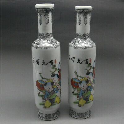 A PAIR EXQUISITE CHINESE Old PORCELAIN HANDWORK CHILDREN VASE