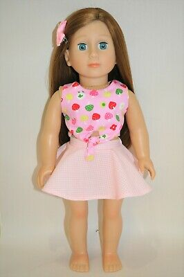 18 Inch Doll Clothes fit American Girl Our Generation Reversible Top and Skirt