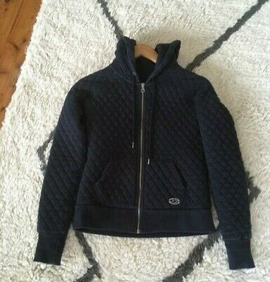 Lorna Jane Quilted Jacket With Hood, V Good Condition, Black, Sz Xs