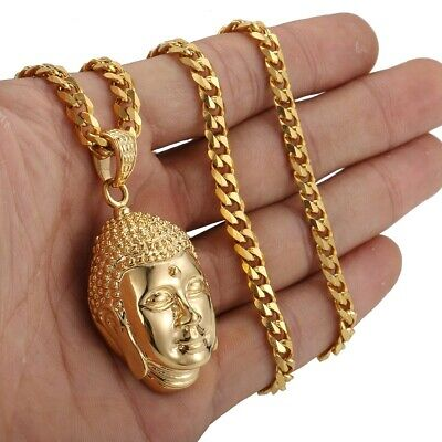 Gold Stainless Steel Buddha Pendant Link Necklace w/ Gold Tone Curb Cuban Chain