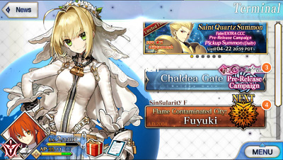 [NA] FGO Fate Grand Order Starter Account SSR Nero Bride