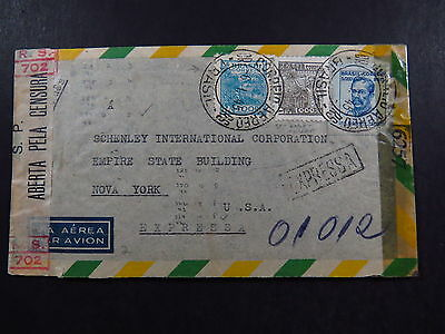 Cover Brasil Brazil Via Aerea Expressa Censura Examined By To New York USA 1945