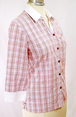 SAINT JAMES France Mademoiselle Shirt Pink Plaid US 4 EU 34 Button Up